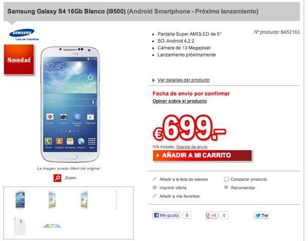 Ya se puede realizar la pre-reserva del Samsung Galaxy S4