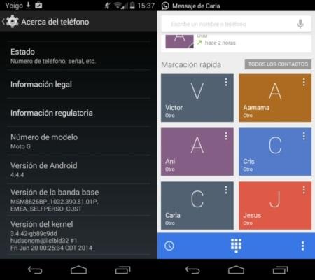Android 4.4.4 en Moto G